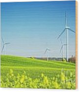 Wind Turbines On Spring Field Wood Print