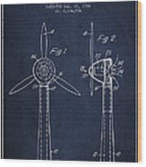 Wind Turbines Patent From 1984 - Navy Blue Wood Print