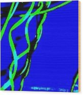 Winding Green And Blue Abstract Wood Print