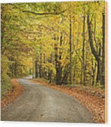 Winding Rural Road With Fall Colors Wood Print