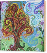 Winding Tree Wood Print by Genevieve Esson