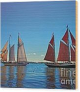 Windjammers  At A Maine Harbor Wood Print