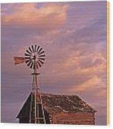 Windmill And Barn Sunset Wood Print