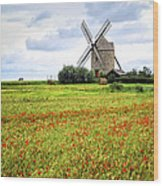 Windmill And Poppy Field In Brittany Wood Print