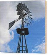 Windmill And Sky Wood Print