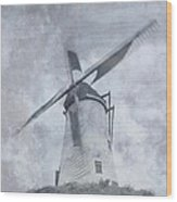 Windmill At Damme In Belgium Countryside Wood Print