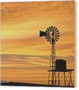 Windmill At Dawn 2008 Wood Print