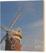 Windmill At Dusk On The Norfolk Broads In Autumn Wood Print
