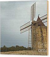 Windmill, France Wood Print