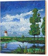 Windmill, Holland, 2006 Oil On Board Wood Print