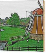 Windmill In A Park In Enkhuizen-netherlands Wood Print