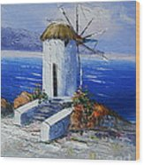 Windmill In Greece Wood Print
