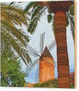 Windmill In Palma De Mallorca Wood Print