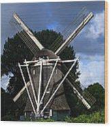 Windmill In Dutch Countryside Wood Print