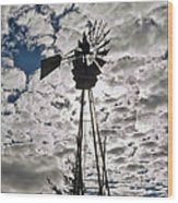 Windmill In The Clouds Wood Print