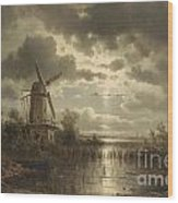 Windmill In The Moonlight Wood Print