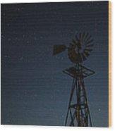 Windmill In The Moonlight Wood Print
