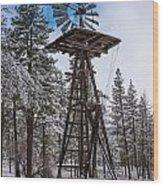 Windmill In The Snow Wood Print