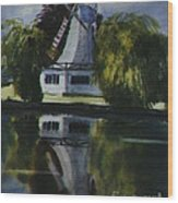 Windmill In The Willows Wood Print