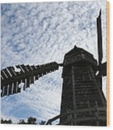 Windmill On A Cloudy Day Wood Print