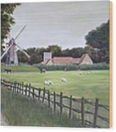 Windmill On Farm Wood Print