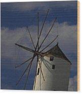 Windmill On Santorini Island  Wood Print