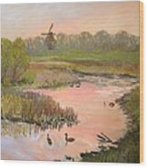 Windmill On The Waterfront Wood Print