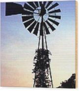 Windmill Silhouette Wood Print