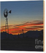 Windmill Silhouette Wood Print by Robert Bales