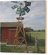 Windmill Speed Sign Posted Wood Print