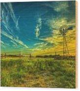 Windmill Sunset Wood Print by  Caleb McGinn