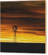 Windmill Sunset Wood Print