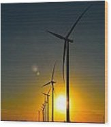 Windmill Sunset Wood Print