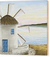 Windmill Wood Print by Veronica Minozzi