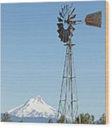 Windmill With Mount Jefferson In Central Oregon Wood Print