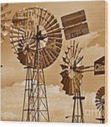 Windmills In Sepia Wood Print