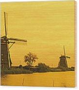 Windmills Netherlands Wood Print