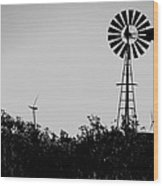 Windmills Now And Then Wood Print