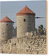 Windmills Of Rhodos - Port Of The Myloi Wood Print