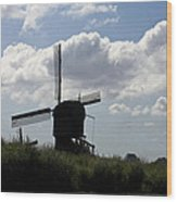 Windmills Silhouette Wood Print