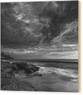 Windnsea Stormy Sky Bw Wood Print by Peter Tellone