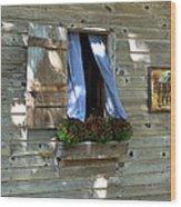 Window And Flowerbox Wood Print