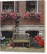 Window Box Bicycle And Bench  -- Amsterdam Wood Print