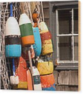 Rockport Buoy View Wood Print