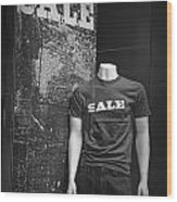 Window Display Sale In Black And White Photograph With Mannequin No.0129 Wood Print