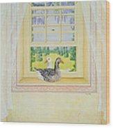 Window Geese Wood Print