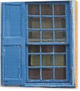 window in blue - British style window in a mediterranean blue Wood Print