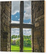 Window In Linlithgow Palace With View To A Beautiful Scottish Landscape Wood Print