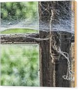 Window Lock And Spider's Web Wood Print