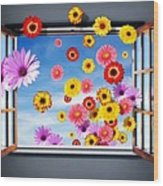 Window Of Flowers Wood Print
